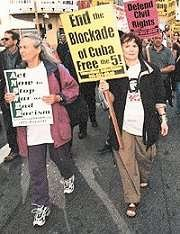 'Free the Five' contingent in the June 28, 2002 march on the San Francisco headquarters of the FBI, called by the International ANSWER (Act Now to Stop War and End Racism) coalition to condemn the repressive USA Patriot Act and Defend Civil Rights.  photo: San Francisco Indy Media